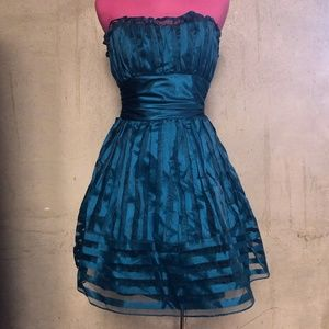 Peacock blue Cyndi Lauper party dress